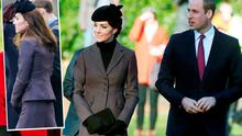 Kate Middleton and Prince William at a service to mark the 100th anniversary of the end of the doomed First World War Gallipoli campaign at the Sandringham war memorial cross and (inset) she wears the same Michael Kors outfit after Christmas
