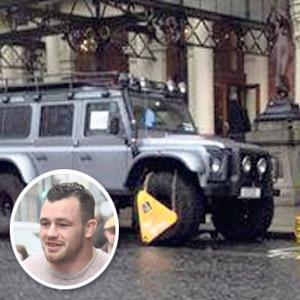 Cian Healy (inset) and his car outside the Shelbourne Hotel.