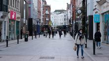 Deserted: Dublin's Grafton Street yesterday. Many firms could be forced to consider job losses in the coming weeks. Photo: PA