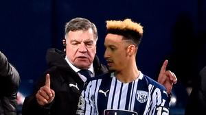 West Bromwich Albion manager Sam Allardyce and Callum Robinson. Laurence Griffiths/PA Wire.