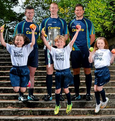 Patrick Horgan of Cork, Kilkenny's Henry Shefflin and Conal Keaney of Dublin got some help from Hannah Mahony, Sean Whelan and Rebecca Moriarty at yesterday's Centra 'Champions of Healthy Living' hurling launch in Dublin