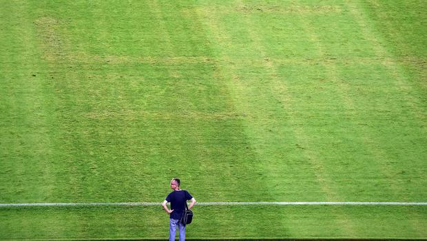 The symbol could clearly be seen in the mown grass during the match