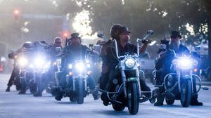 Crowds: Bikers ride down a street in Sturgis during the 80th annual motorcycle rally in the South Dakota town. PHOTO: MICHAEL CIAGLO/GETTY