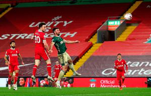 Liverpool's Diogo Jota scores his side's second goal in their victory over Sheffield United