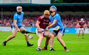 David Glennon of Galway in action against Seán Moran of Dublin during the Leinster GAA Hurling Senior Championship Round 5 match between Dublin and Galway at Parnell Park in Dublin. Photo by Ramsey Cardy/Sportsfile