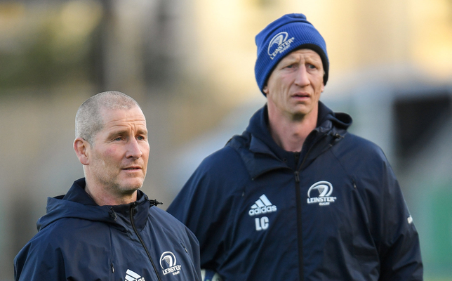 Senior coach Stuart Lancaster, left, and head coach Leo Cullen during Leinster Rugby squad training. Photo: Ramsey Cardy/Sportsfile