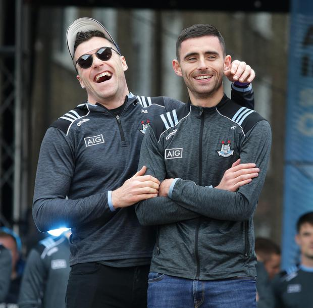 29/9/2019, Dublin players, Paddy Andrews, Niall Scully, and  Brian Fenton at the homecoming for the winning All Ireland Ladies and Mens teams at Merrion square, Dublin.  Picture credit; Damien Eagers / INM