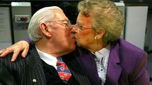 Ian Paisley kissing his wife Eileen. Photo credit: Julien Behal/PA Wire