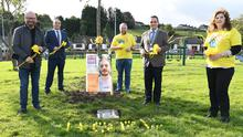 Ged Nash TD, Councillor James Byrne, Cormac Craig, Mayor Kevin Callan and Aishling Pentony at the Pieta Tree of Hope planting ceremony at St. Dominick's 'Park for Drogheda Darkness into Light in conjunction with Louth County Council