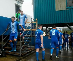 Harps players leaving their Portakabin dressing room during Tuesday's game against Shelbourne in Finn Park, Ballybofey. Photo: Sportsfile