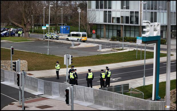 Gardai at RTÉ in Donnybrook ahead of the expected St Patricks Day protests.  Photo by Steve Humphreys