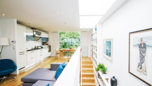 Alec Darragh's aluminum clad North Dublin terrace: The result is a contemporary aluminium clad home flooded with natural light by floor to ceiling picture windows