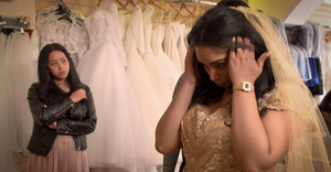 Adrianna looks at her wedding dress for the first time. Photo: Sky One
