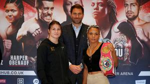 Promoter Eddie Hearn, Katie Taylor and Christina Linardatou during the press conference for Saturday's world title fight