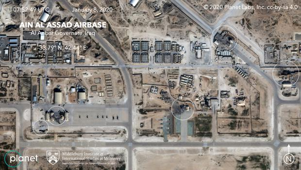 The air base after Iran's missile attack on January 8 (Planet Labs Inc/PA)