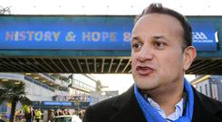 Taoiseach Leo Varadkar arriving at Croke Park for the GAA club finals yesterday. Photo: Gerry Mooney