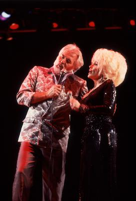 Singing 'Islands in the Stream' with old friend and country queen Dolly Parton. Photo: Paul Natkin/Getty Images