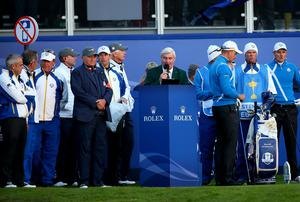 The first-tee nerves got to Ryder Cup starter Ivor Robson who mixed up Bubba Watson and Webb Simpson