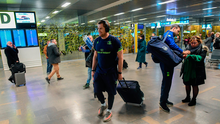 Jamie Heaslip of Leinster on their arrival in Toulouse Airport