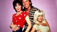 The cast of Three's Company - Joyce DeWitt, John Ritter, Suzanne Somers