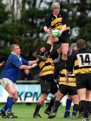 26 February 2000; Paul O'Connell, Young Munster, takes the ball in the lineout. AIB League Rugby, Division 1, St Mary's v Young Munster, Templeville Road, Dublin. Picture credit: Matt Browne / SPORTSFILE