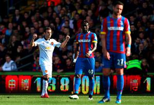 Juan Mata celebrates scoring his penalty during the Barclays Premier League match at Selhurst Park