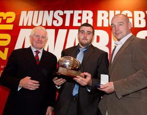 Academy player of the year James Cronin at the Munster rugby awards cermony. also included are Dr Paul McCarthy and Peter Malone. Photo: Mark Condren