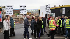 Local residents at the protest in Coolock Photo: Mick Carolan