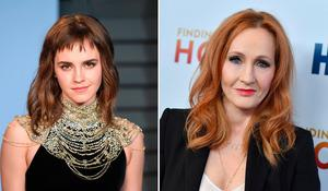 On different pages: Actress Emma Watson (left) has stepped away from the opinions of author JK Rowling