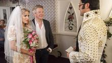 Louis Walsh and Caroline Flack (pictured in a spoof wedding segment on the Xtra Factor) worked together in 2012