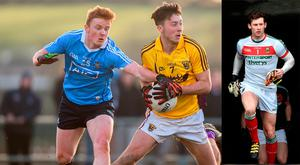 Eoghan Nolan of Wexford in action against Conor McHugh of Dublin and (inset) David Clarke leads Mayo out