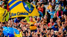 Going places: Conor Cox, held shoulder high by Roscommon supporters on Sunday, has become totally comfortable with his 'new' identity. Photo: Seb Daly/Sportsfile