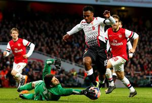 Arsenal's Lukasz Fabianski makes a save from Liverpool's Daniel Sturridge during their FA Cup victory