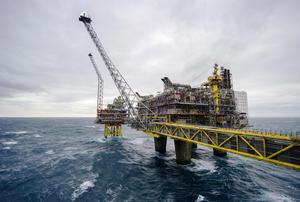 An offshore gas platform operated by Statoil ASA stands in the Oseberg North Sea oil field 140kms from Bergen, Norway - gas and oil drilling is an important part of Norway's economy