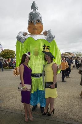 Wednesday 30 April 2014. Punchestown Races, Sinead Hussey and Orla Brady.