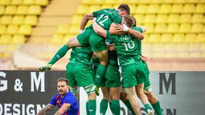 Ireland players celebrate after qualifying for the Tokyo Olympics. Photo by Giorgio Perottino - World Rugby via Sportsfile