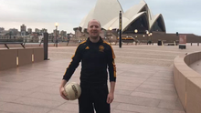 Kevin Carden pictured in front of Sydney Opera House after completing his half hour slot in Sydney