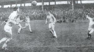 Eamonn Breslin heads home the winning goal in an NFL game against Laois in 1964 as Seamus Aldridge scrambles across to try and block it