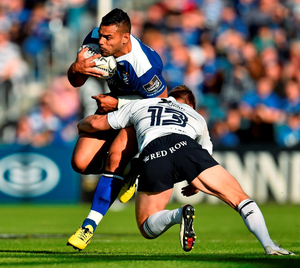 Ben Te'o, Leinster, is tackled by Tom Isaacs, Cardiff Blues