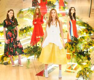 (l to r) Maria Traynor wears Valentino dress €2,450, Sophie Murphy wears Magda Butrym dress €1,545, Sarah Morrissey wears Maticevski Top €787, Skirt €2,018 and Maria Boardman wears Peter Pilotto dress €1,685 as they showcased the exciting new spring summer International Designer Collections at Brown Thomas. Picture: Leon Farrell / Photocall Ireland