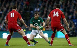 Ireland's Gordon D'Arcy against Wales George North (left) and Alex Cuthbert during the RBS 6 Nations match at the Aviva Stadium, Dublin,