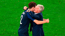 Delighted French coach Didier Deschamps hugs defender Benjamin Pavard after the victory against Belgium. Photo: Getty Images