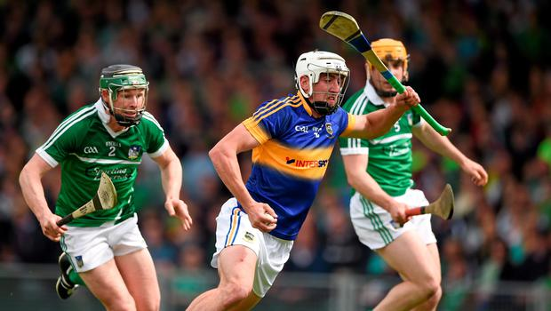 21 June 2015; Patrick Maher, Tipperary, in action against Stephen Walsh, Limerick. Munster GAA Hurling Senior Championship, Semi-Final, Limerick v Tipperary, Gaelic Grounds, Limerick. Picture credit: Ray McManus / SPORTSFILE