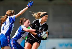 Sligo's Sarah Reynolds in action against Michelle McGrath of Waterford during TESCO HomeGrown Ladies National Football League, Division 3 Final at Parnell Park
