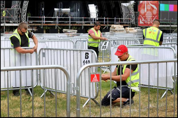 The set up continues of Irelands first big music festival featuring Gavin James and Lyra to name a few band performing this weekend at Kilmainham. Photo by Steve Humphreys 2nd July 2021.