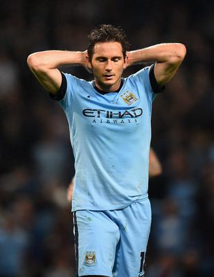 MANCHESTER, ENGLAND - SEPTEMBER 30:  Frank Lampard of Manchester City looks dejected at the end of the UEFA Champions League Group E match between Manchester City FC and AS Roma  on September 30, 2014 in Manchester, United Kingdom.  (Photo by Laurence Griffiths/Getty Images)