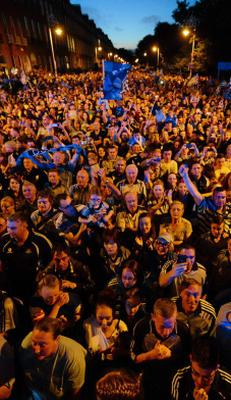 23 September 2013; A general view of the crowd during the homecoming celebrations of the All-Ireland Senior Football Champions. Merrion Square, Dublin. Picture credit: Paul Mohan / SPORTSFILE