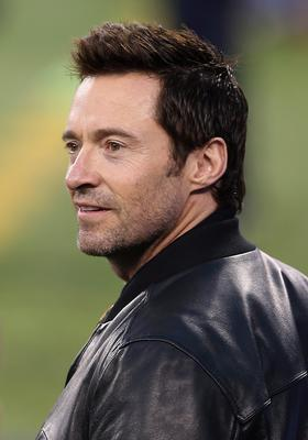 Hugh Jackman attends Super Bowl XLVIII between the Denver Broncos and the Seattle Seahawks  at MetLife Stadium on February 2, 2014 in East Rutherford, New Jersey.