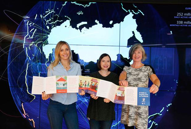 RTÉ presenter Blathnaid Treacy, Julie de Bailliencourt, head of Safety Policy at Facebook, and Margaret Martin, director of Women's Aid, at the launch of 'A Guide to Staying Safe on Facebook' yesterday. Photo: Sasko Lazarov