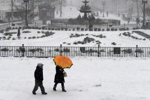 People walk in the Borough Hall section of downtown Brooklyn in New York City in falling snow, January 26, 2015.  REUTERS/Stephanie Keith